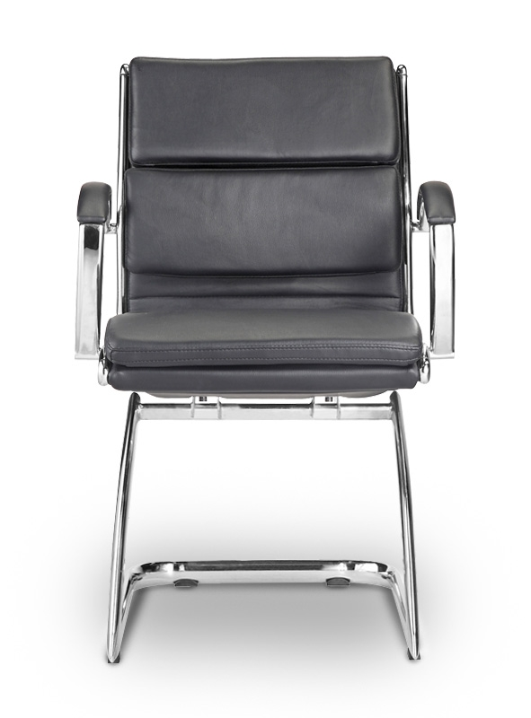 Livello Guest Chair Black Leather* · FRONT VIEW. FRONT VIEW