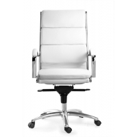 Livello High Back White Executive White Leather* Chair