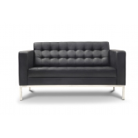 Piazza Black Leather* Love Seat