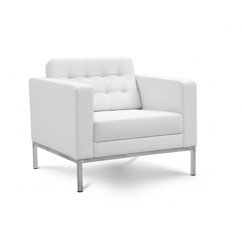 Piazza White Leather Lounge Chair - White leather lounge chair