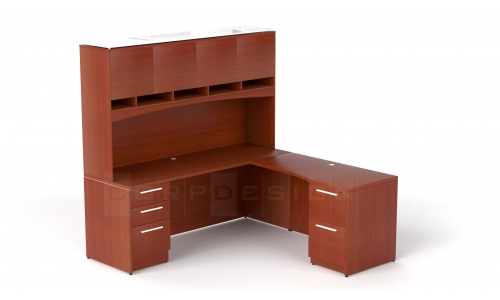 Credenza with return and hutch
