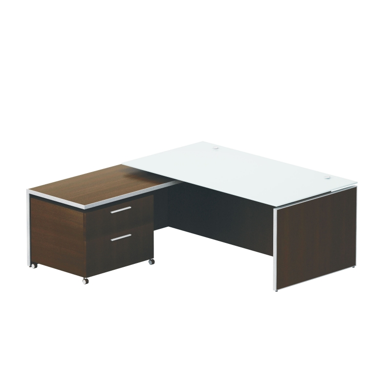 Potenza Executive desk – White glass top