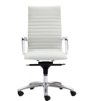 Zetti High Back Executive White Leather* Chair