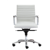 Zetti Mid Back Executive White Leather* Chair